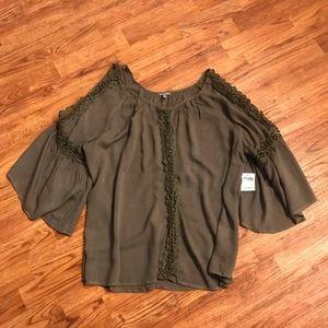 Olive Crochet/Lace Cold Shoulder Top